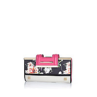 Black floral print clip top purse