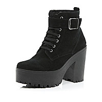 Black suede lace up platform ankle boots