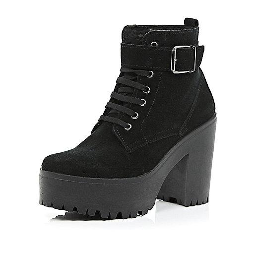 Black suede lace up platform ankle boots
