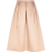 Light pink satin box pleat midi skirt