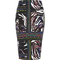 Black tribal print pencil skirt