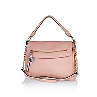 Pink fold over slouch bag