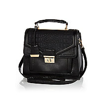 Black mock croc structured bag