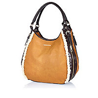 Tan shearling trim slouch bag