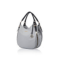 Grey slouchy zip side handbag
