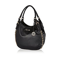 Black chain trim slouch bag