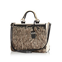 Brown faux fur tote bag