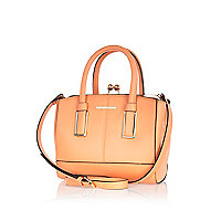 Coral mini structured tote bag