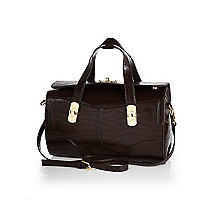 Brown structured mock croc bowler bag