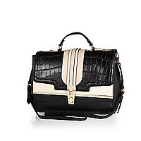 Black mock croc colour block structured bag