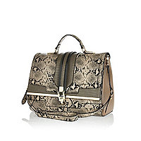 Khaki snake print structured bag