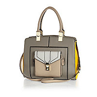 Grey pocket trim colour block tote bag