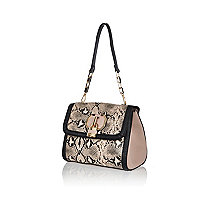 Light pink snake padlock shoulder bag