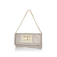 Grey mock croc twist lock clutch bag