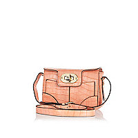 Light pink croc mini cross body bag