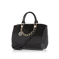 Black croc bowler bag