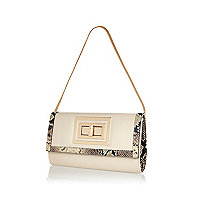 Cream snake trim twist lock clutch bag