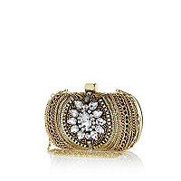 Gold tone chain embellished box clutch bag