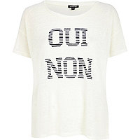 Cream oui non stripe print t-shirt