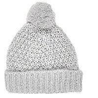 Light grey loose knit beanie hat