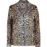 Brown leopard print pyjama top