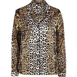 Brown leopard print pyjama top