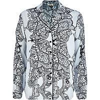 Blue paisley print pyjama top