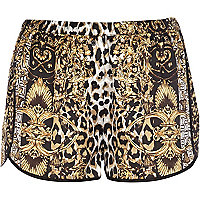 Brown leopard print pyjama shorts
