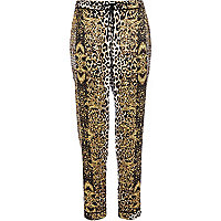 Brown leopard print pyjama bottoms