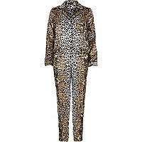 Brown leopard print pyjama onesie