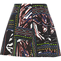 Black tribal print skater skirt