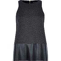 Grey leather-look panel sleeveless tunic