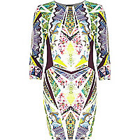Yellow graphic print bodycon dress