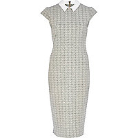 Grey dogtooth contrast collar bodycon dress