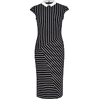 Navy stripe contrast collar bodycon dress