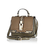 Khaki colour block structured cross body bag