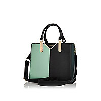 Dark green colour block tote bag