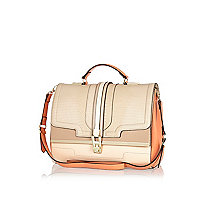 Light pink colour block structured bag