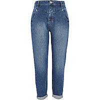 Mid wash slim Mom jeans