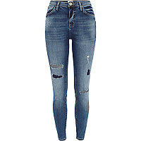Mid wash ripped Lana superskinny jeans
