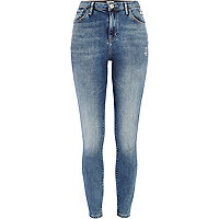 Light wash distressed Lana superskinny jeans