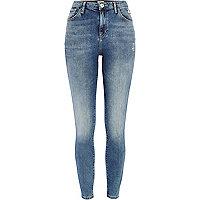 Light wash distressed Lana superskinny jeans