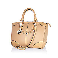 Beige chain trim bowler bag