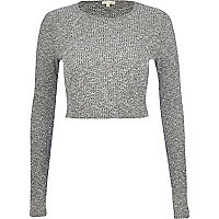 Grey marl rib crop top