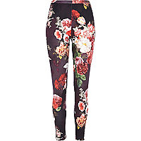 Black floral print scuba leggings