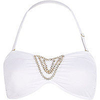 White draped chain bandeau bikini top