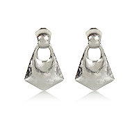 Silver tone textured statement earrings