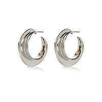 Silver tone chunky hoop earrings