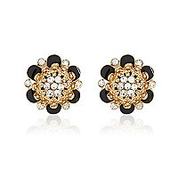 Black and diamante flower studs