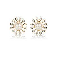 Faux pearl diamante surround stud earrings